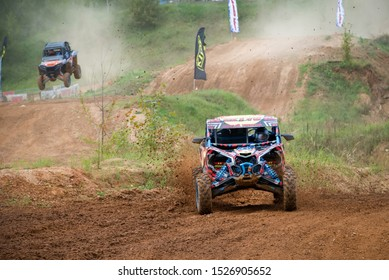 MOSCOW, RUSSIA-SEPTEMBER 14, 2019: Zakhozhy187,class Side-by-Side TURBO, in the Stage 3 All-Russian amateur competitions for owners of all-terrain vehicles and ATVs RZR CAMP 2019, MotoPark Velyaminovo