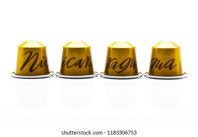 MOSCOW, RUSSIA-September 19, 2018: Limited Collection Nespresso Master Origin coffee capsules on white background. Nespresso is worldwide company of coffee pruducts.