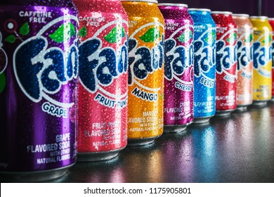 Moscow, Russia-September 6, 2018: cans of Fanta drink of different flavors in stock.Fanta non-alcoholic strongly carbonated soft drink; trademark owned by the Coca-Cola Company