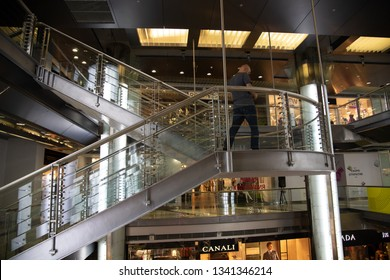 Moscow, Russsia - Sep 22. 2018. Fashion Season - shopping center on Okhotny Ryad Street. Stairs