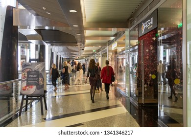 Moscow, Russsia - Sep 22. 2018. Fashion Season - shopping center on Okhotny Ryad Street. Interior