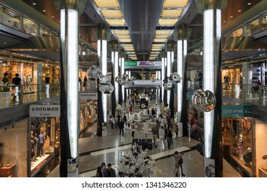 Moscow, Russsia - Sep 22. 2018. Fashion Season - shopping center on Okhotny Ryad Street