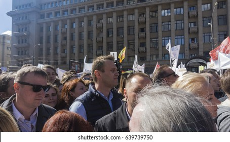 Moscow, Sakharov Av.- May 14, 2017. Alexei Navalny participates in Manifestation against the project of old five story apartment houses renovation.