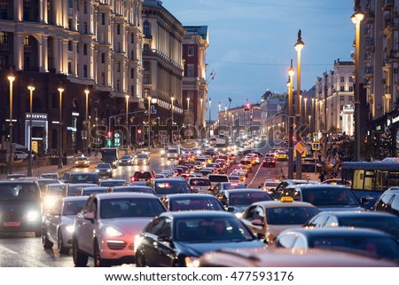 MOSCOW - SEP 02: Traffic jam on the main street of Moscow on September 02. 2016 in Russia