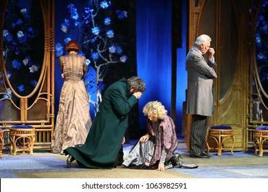 MOSCOW - SEP 14, 2017: Four heroes from the play Cherry Garden cry on stage of the Moscow Theater Center the Cherry Orchard.
