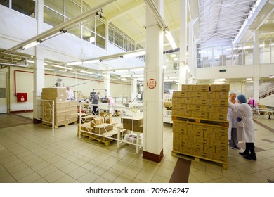 MOSCOW - SEP 15, 2016: People in workshop of soap and cosmetics factory Freedom was created on basis of first in Russia perfume factory Rally and Co, which was founded in 1843