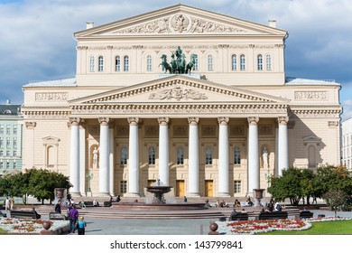 MOSCOW - SEP 17: Beautiful building of the Bolshoi Theatre on September 17, 2012 in Moscow, Russia. The complex of buildings of the theater is located in the center of Moscow at the Theatre Square.