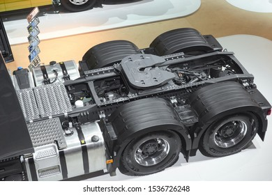 MOSCOW, SEP, 4, 2019: Top view on Volvo truck frame chassis with wheels. Volvo trucks on Commercial Transport Exhibition ComTrans-2017. Powerful heavy urban trucks
