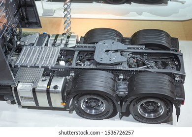 MOSCOW, SEP, 4, 2019: Top view on Volvo truck frame chassis with wheels. Volvo trucks on Commercial Transport Exhibition ComTrans. Powerful heavy urban vehicles and trucks
