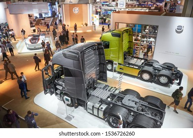 MOSCOW, SEP, 4, 2019: Top view on Volvo truck chassis. Volvo trucks on Commercial Transport Exhibition ComTrans-2017. Truck back equipment devices chassis frame. Commercial trucks
