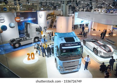 MOSCOW, SEP, 4, 2019: Top view on Volvo trucks. Volvo driverless trucks on Commercial Transport Exhibition ComTrans-2017. Truck back equipment devices chassis frame. Commercial trucks