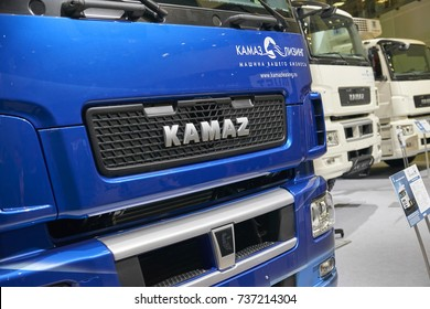 MOSCOW, SEP, 5, 2017: Russian truck KAMAZ logo on engine hood. Famous Kamaz trucks. Car exhibits on Commercial Transport Exhibition ComTrans-2017. Commercial trucks. Car logo