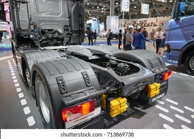MOSCOW, SEP, 5, 2017: View on Scania truck back chassis with equipment and back lights. Scania trucks on Commercial Transport Exhibition ComTrans-2017. Truck chassis back rear view. Rear lights