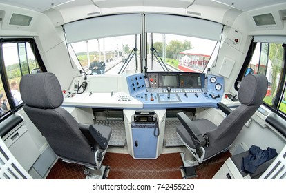 MOSCOW, SEP,18, 2011: Modern new passenger electric loco EP20 driver cabin interior driver desk place console chairs seats operation devices Train loco cabin inside Train driver operator working place