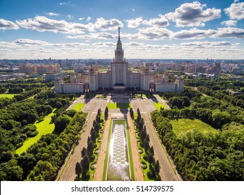 MOSCOW - SEPT 1, 2016: Aerial view of Lomonosov Moscow State University in Moscow, Russia. Scenery of Moscow with the Main building of MSU in summer. Panorama of the city with the Stalin skyscraper.