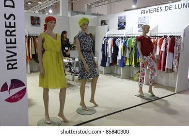 MOSCOW - SEPT 5: exhibition of clothes from French brand Rivieres De Lune at the International Fair of Fashion, September 5, 2011 in Moscow, Russia.