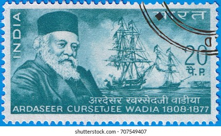 MOSCOW - SEPTEMBER 02, 2017: A stamp printed in India shows a portrait of the Ardaseer Cursetjee Wadia, circa 1969