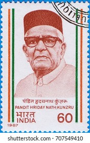 MOSCOW - SEPTEMBER 02, 2017: A stamp printed in India shows a portrait of the Indian human rights activist and statesman Pandit Hriday Nath Kunzru, circa 1987