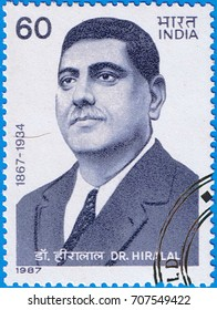 MOSCOW - SEPTEMBER 02, 2017: A stamp printed in India shows a portrait of the Indian historian dr. Hiralal, circa 1987