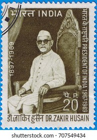 MOSCOW - SEPTEMBER 02, 2017: A stamp printed in India shows a portrait of the President of India dr. Zakir Husain, circa 1969