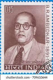 MOSCOW - SEPTEMBER 05, 2017: A stamp printed in India shows a portrait of Bhimrao  Ambedkar, circa 1966