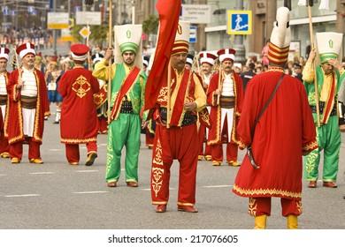 "MOSCOW - SEPTEMBER 06, 2014: international festival of military orchestra ""Spasskaya tower"", ""Mehter"" orchesra, town Iznik, Turkey."