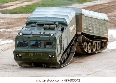 MOSCOW - SEPTEMBER 06, 2016: The two-tier tracked all-terrain amphibian vehicle at the International military-technical forum ARMY-2016. Russia, Alabino.