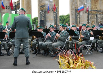 MOSCOW - SEPTEMBER 07, 2013: Orchestra plays in Gorky park in Moscow. Day of the City celebration.
