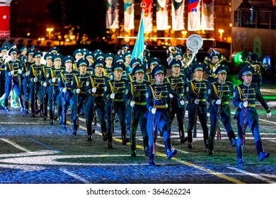 """MOSCOW - SEPTEMBER 08, 2015: international festival of military orchestra """"Spasskaya tower"""", The honor guard and the orchestra of the Presidential regiment """"Aibyn"""" of Kazakhstan. Russia."""