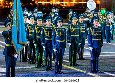 "MOSCOW - SEPTEMBER 08, 2015: international festival of military orchestra ""Spasskaya tower"", The honor guard and the orchestra of the Presidential regiment ""Aibyn"" of Kazakhstan. Russia."