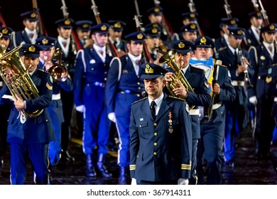 "MOSCOW - SEPTEMBER 08, 2015: international festival of military orchestra ""Spasskaya tower"", band of the Royal air force and the honor guard Technical Academy, Greece. Russia."