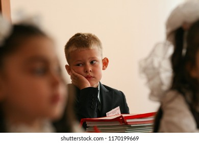 Moscow - September 1, 2011: Children in the first class at the day of knowledge. Public-event.