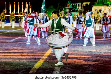 "MOSCOW - SEPTEMBER 10, 2015: international festival of military orchestra ""Spasskaya tower"", The band of the Armed forces of Pakistan. Russia."