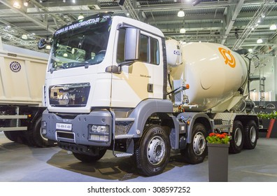 MOSCOW, SEPTEMBER 12, 2013: German company MAN vehicle for transporting of liquid concrete at the International Trade Fair COMTRANS