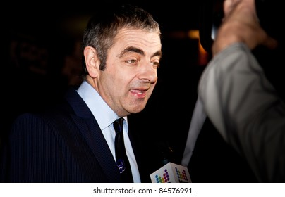 """MOSCOW - SEPTEMBER 12: Actor Rowan Atkinson at the premiere of the movie """"Johnny English reborn"""" at the """"October"""" Cinema. September 12, 2011 in Moscow, Russia."""