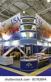 MOSCOW - SEPTEMBER 13: The booth from  Alaska Seafood at the International Food & Drinks Exhibition September 13, 2011 in Moscow, Russia