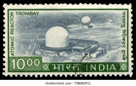 MOSCOW, September 2, 2017: INDIA - CIRCA 1965: Postage stamp printed in India with image of the Apsara Research Atomic Reactor in Trombay, Mumbai.