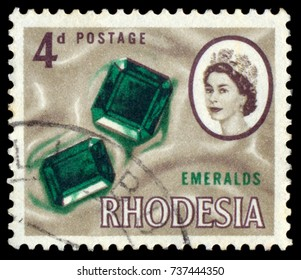 MOSCOW, September 2, 2017: RHODESIA - CIRCA 1964: A stamp printed in Rhodesia shows emeralds, circa 1964