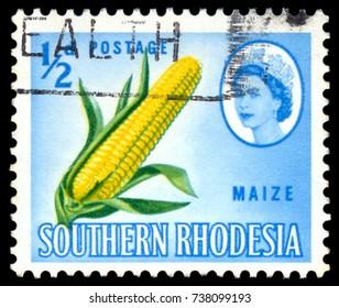 MOSCOW, September 2, 2017: RHODESIA - CIRCA 1966: A stamp printed in Rhodesia shows Queen Elizabeth II and corn, circa 1966