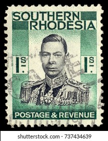 MOSCOW, September 2, 2017: SOUTHERN RHODESIA - CIRCA 1937: A stamp printed in Southern Rhodesia, shows the portrait King George VI, circa 1937