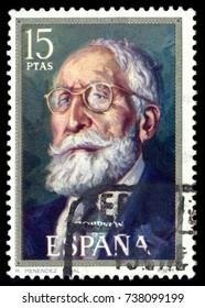 MOSCOW, September 2, 2017: SPAIN - CIRCA 1971: stamp printed by Spain, shows Ramon Menendez Pidal (Ignacio Zuloaga), circa 1971