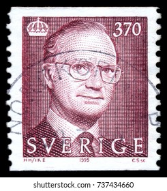 MOSCOW, September 2, 2017: SWEDEN - CIRCA 1995: stamp printed by Sweden, shows King Carl XVI Gustaf, circa 1995