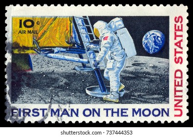 MOSCOW, September 2, 2017: UNITED STATES - CIRCA 1969: mail stamp featuring Neil Armstrong's first step on the moon, circa 1969