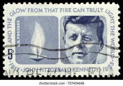 MOSCOW, September 2, 2017: USA - CIRCA 1963: A used postage stamp from the USA, depicting a portrait of former President of the United States, John F. Kennedy, circa 1963.