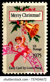 MOSCOW, September 2, 2017: USA - CIRCA 1975:  A stamp printed in USA showing a Christmas postcard by Louis Prang, circa 1975