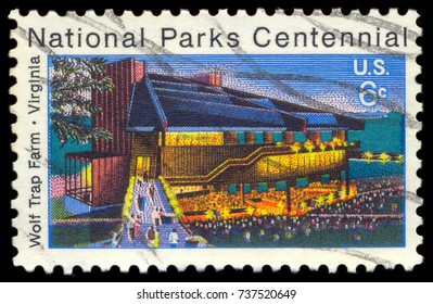 MOSCOW, September 2, 2017: USA - CIRCA 1972: A stamp printed in United States of America shows Wolf Trap Farm, Virginia, National Park Centennial, circa 1972