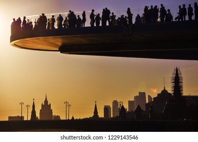 MOSCOW -  SEPTEMBER 21, 2018: View of Zaryadye park, new landmark in Moscow city historic center open in 2017. Color photo.