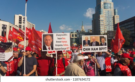 Moscow, September, 22, 2018. Sakharov av. People protests against the rise of the state insuared pension age.  Protesters pose with their posters.