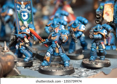 Moscow - September 23 2018: Igrocon board games festival/convent, Warhammer miniatures exhibition. Warhammer Space Marines - Ultramarines miniatures exhibit.