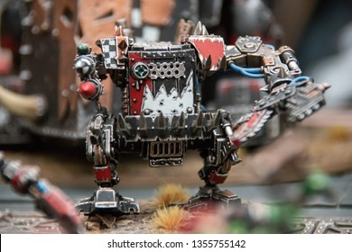 Moscow - September 23 2018: Igrocon board games festival/convent, Warhammer miniatures exhibition. Warhammer Orks miniatures exhibit.